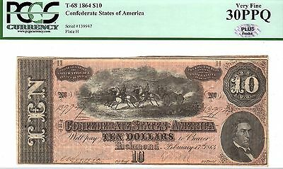 1864 Confederate States of America $10 Ten Dollar Bill Currency Note - PCGS 30