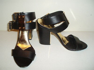 TED BAKER Black Leather Strappy Ankle Heels/Sandals/Shoes--Size 6.5 M (UK 4.5)