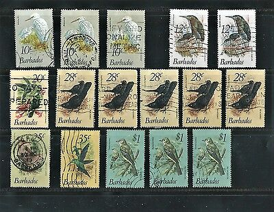 Sixteen Used 1979  Barbados Stamps - Birds