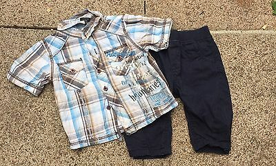 Baby Boys Next Chinos & Check Shirt Outfit 3-6 M
