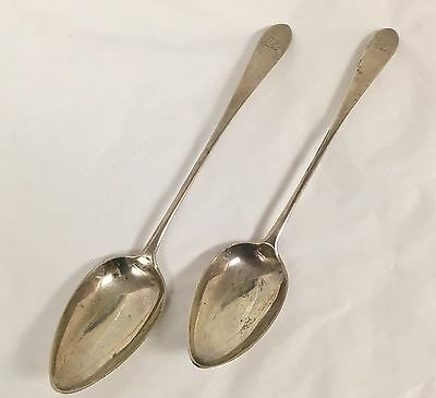 Pair Of Georgian Silver Basting Spoons Scotland Francis Howden Sterling 1795
