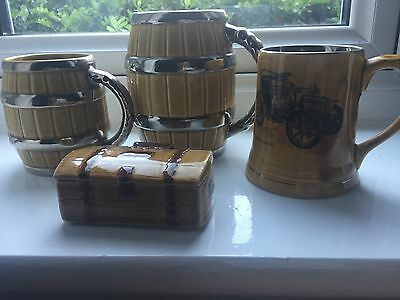 Wade mugs x3 plus trinket chest, includes peugeot mug and two vintage mugs