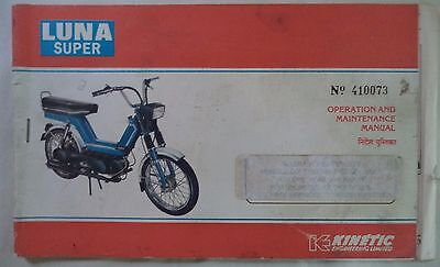 Luna Super Kinetic Engineering Limited Scooters  Owners/operators Manual
