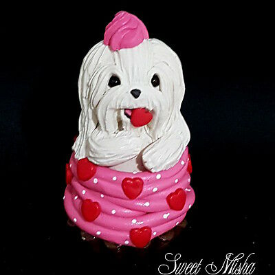 MALTESE dog sculpture clay handmade CUPCAKE figurine ooak original SWEET MISHA