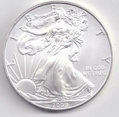 2009  Uncirculated American Silver Eagle  1-Troy oz. .999 Silver. Eagle is White