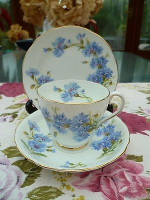 Pretty Vintage Adderley China Trio Tea Cup Saucer Plate Blue Cornflower H 487