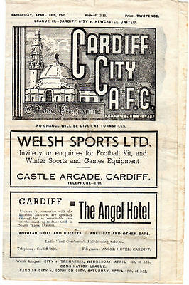 Cardiff City v Newcastle United Second Division April 10 1948