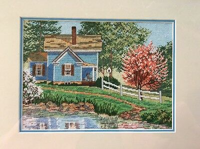 Blue House Spring Pond Porch Trees Counted Cross Stitch Framed Completed 13 X 15