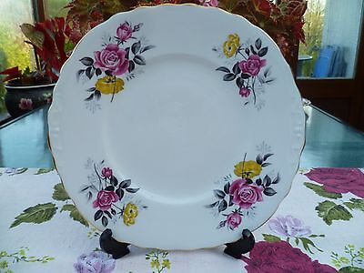 Lovely Vintage Royal Vale China Cake or Sandwich  Plate Pink Yellow Rose 7515