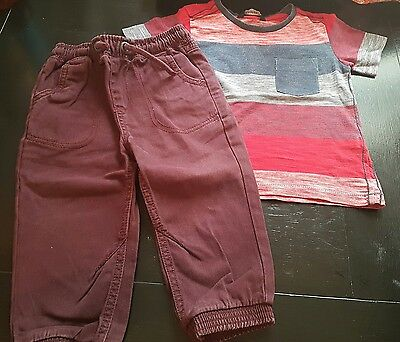 boys 12-18 months t-shirt top & joggers jeans trousers pull on bundle next