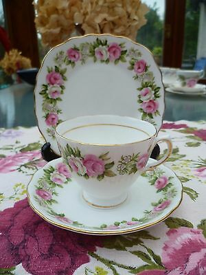 Lovely Vintage Colclough English China Trio Tea Cup Saucer Pink & White Roses