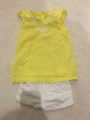 Baby Girls Carters Outfit Set Tshirt Top Shorts Pants White Yellow Age 18 Months