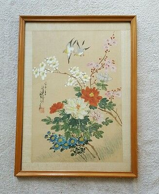Hand painted  Chinese painting Birds and  flowers on silk. Signed.