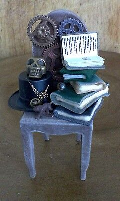 STEAMPUNK CHAIR - COGS, TOP HAT, DRAGON BOOK, SKULL CHARM, ETC - 12th Scale