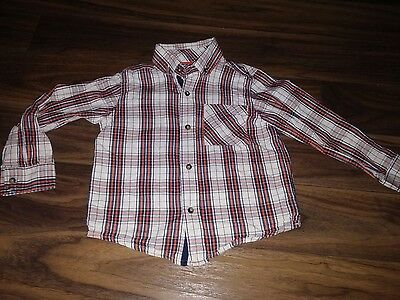 boys red and white long sleeved checked shirt age 4-5