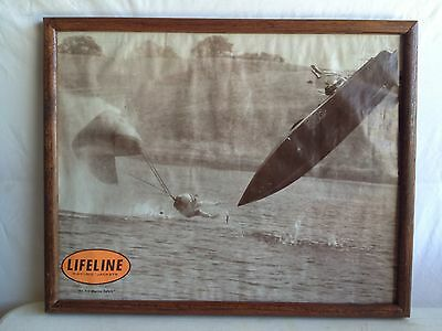 VINTAGE BOAT RACING AD FOR LIFELINE RACING JACKETS. POSTER/ PHOTO 16x20 FRAMED