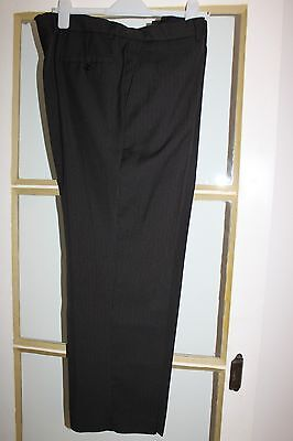 Mens Black Striped Tailored Smart Trousers Business Office Size Fr52 Uk 42 L28.5