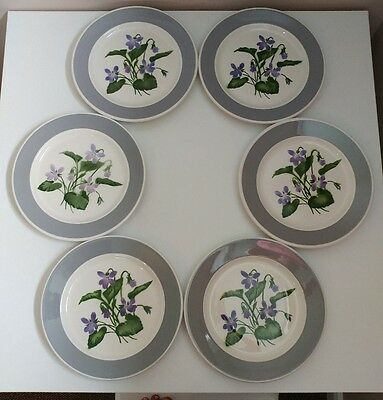 """6 Canadian Pacific Railroad Hotelware Violet 9 7/8"""" Plates Sovereign Potters"""