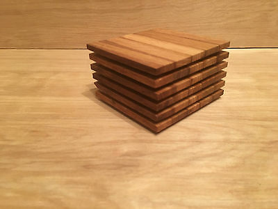 Set Of 6 Large Handmade Solid Oak Coasters Drink Mats