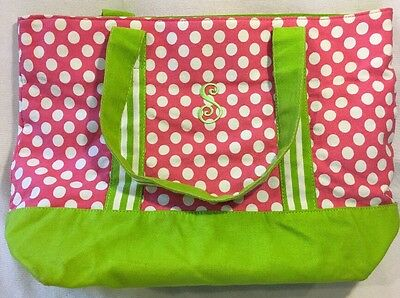 "Small Girls Pink And Green Polka Dot Tote Bag Monogram ""S"""