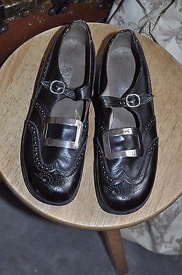 Children's Vintage 'Kiltie' All Leather Black Brogues with Buckles UK 1 Width D