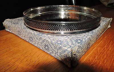 VINTAGE Round Gallery TRAY Silver Plated - Cavalier