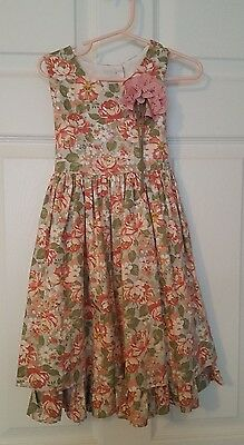 Laura Ashley Girl's sleeveless floral dress pink and green size 5