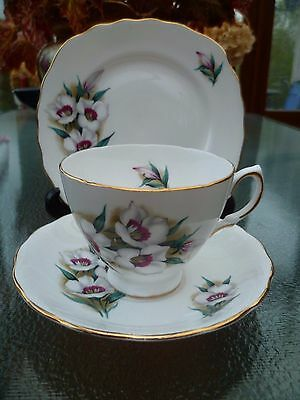 Lovely Crown Royal English China Trio Tea Cup Saucer Plate White Floral