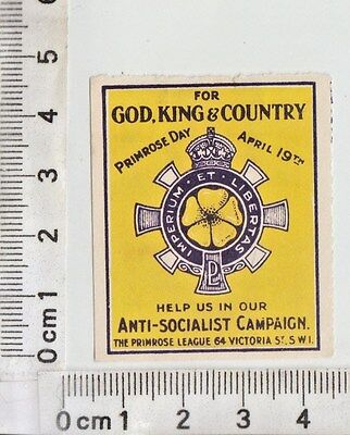 "England - Primrose Day April 19Th - Anti-Socialist Campaign - ""for God, ..."""