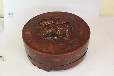 A Chinese Antique Red &Gilded Lacquer Box with Carving Figures