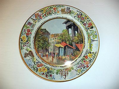 Vtg Daher Decorated Ware Tin Round Tray Plate Paris Street Scene Made In Holland