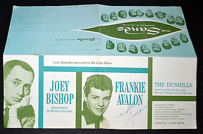 1961 Frankie Avalon Autographed The Sands Hotel The Copa Room Mailer Table Card