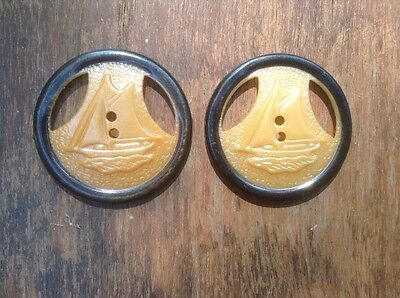 Lot Of Two Beautiful Decorative Antique Sailboat Buttons - Cut Out