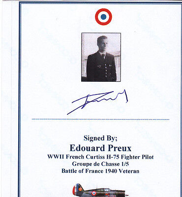 SIGNED Bookplate/Card Battle of France 1940 French Fighter Pilot Preux