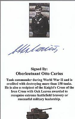 SIGNED Bookplate/Card WWII Panzer Ace Carius (150+ Tank Victories)