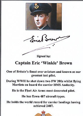 SIGNED Bookplate/Card Legendary Pilot Eric 'Winkle' Brown