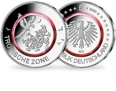 "5 Euro Coin red Polymer ""Tropical Zone"" - ""Tropische Zone"" - G - NEW 2017 UNC"