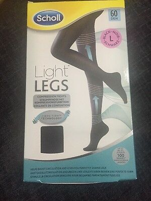 Scholl Light Legs Black 60 Den Compression Tights Size Large New