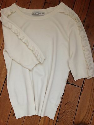 Pull manches courtes maille blanc ZARA Taille S