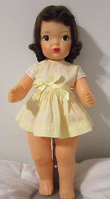 "Terri Lee 16"" Doll 1950's in Tagged Yellow Cotton Dress"