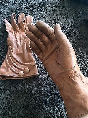 Vintage Womens Brown Leather Gloves 1950s 60s