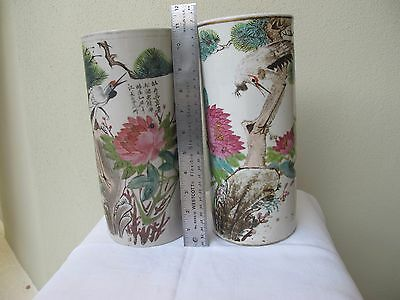 Two Vintage Chinese Pottery Glazed Hat Stands Heron, And Lotus Flowers