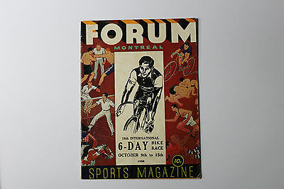 1938 6-Day International Bike Race Official Program  - Montreal Forum