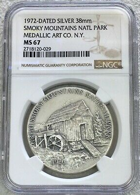1972 Silver Smoky Mountains National Park Medallic Arts Medal Ngc Mint State 67