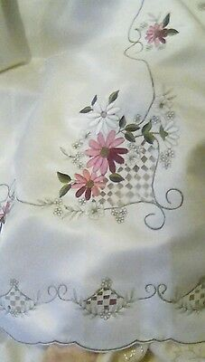 A vintage embroidered tablecloth