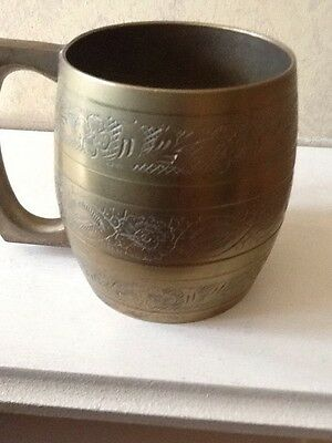 Vintage Brass Barrel Tankard