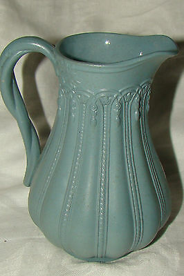 Antique English Blue Salt Glaze Stoneware Milk Cream Pitcher