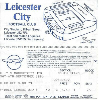 LEICESTER CITY v MANCHESTER UNITED 1986/1987 TICKET