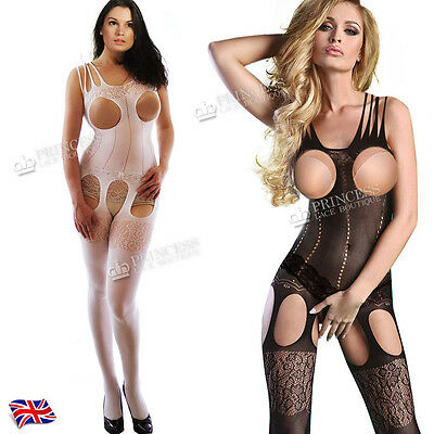 Hen Party Lingerie Fishnet Catsuit Tights Catsuit Body Stockings Black FH46