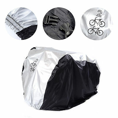 Bike Cover Waterproof Outdoor Storage 2 bikes Silver Black
